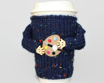 Art teacher gift. Coffee sweater. Cup sleeve. Coffee gift. Tumbler cover. Coffee cozy. Tea cozy. Travel mug cozy. Teacher gift. Artist gift