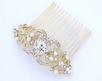 Gold Bridal Hair Comb, Crystal Pearl Bridal Hair Piece, Gold Wedding Hair Accessory, Rhinestone Gold Hair Comb, Gold Bridal Headpiece
