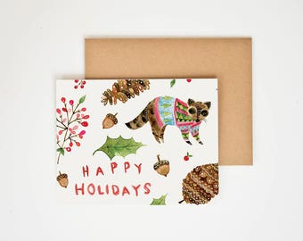 Holiday Card, Merry Christmas, Animals in Sweaters, Hannukah Decor, Peace on Earth, Winter Onederland, Seasonal Decor, Meera Lee Patel
