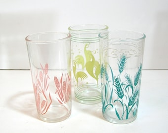 Pastel Vintage Drinking Glasses, Rooster, Wheat, Flowers