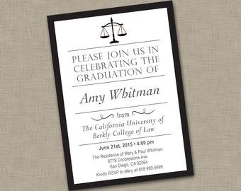 Law School Graduation Invitation / Law School Graduation Announcement / Lawyer Graduation Invitation / College of Law