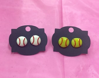 Baseball Earrings - Softball Earrings - Baseball Jewelry - Softball Jewelry - Baseball Mom - Softball Mom - Personalized Stud Earrings