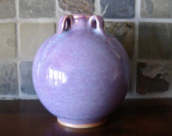 Small Pottery Vase, Amethyst Purple Glaze, Fulper Style Design, Possibly Chinese, Cottage Chic, FREE SHIPPING