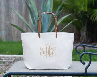 Personalized Custom Monogram Large Canvas Beach Bag, Market Bag, Large Tote Bag, Bridesmaid Bag, Wedding Bag, Bridesmaid Gift