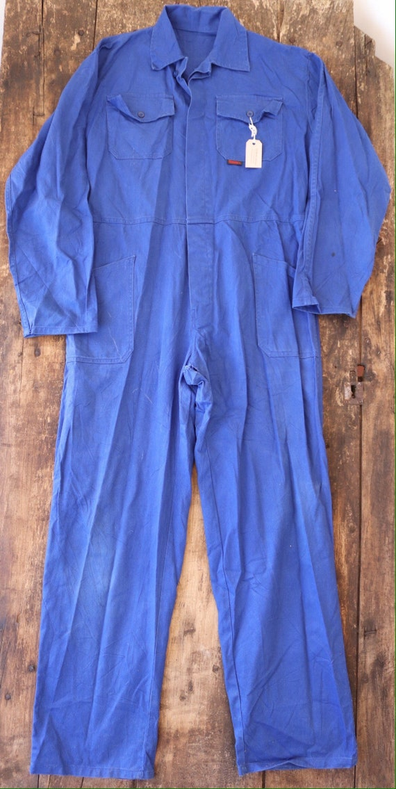 "Vintage french blue blue de travail overalls coveralls workwear factory farm 52"" chest 40"" x 33"" cotton twill"