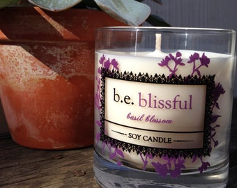 Basil Blossom, Soy Candle, Bliss, Glass Pillar, Vegan, Essential Oils