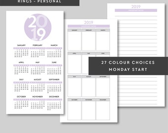PERSONAL   2018, 2019, 2020, 2021, 2022 Year on One Page, Year Overview, Personal Printable Pages Planner Inserts, Yearly Calendar, Filofax