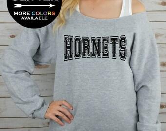HORNETS Off Shoulder Raw Edge Sweatshirt for Women // GLITTER // Mascot Sweatshirt, Football Shirt, Sports Tee, Plus Sizes (Black Glitter)