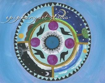 "SALE 8"" x 10"" Mandala Giclee Fine Art Print ""The Spiral Dance"" Sacred Geometry Circle, Seasons Cycle, Wheel of the Year, Birds Sun Moon Blue"