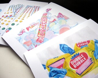 Blank Cards - Classic Candy Watercolor Art Notecards (Ed. 2), Set of 4 - Smarties, Lollipops, Dubble Bubble and Button Candy