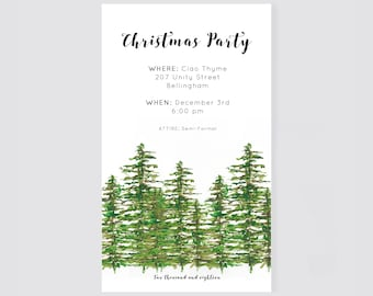 Christmas Party Invite, Digital Download, Winter Tree Theme Holiday party invitation, Company Party, Friends & Family Holiday Party