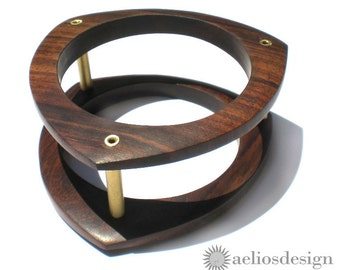 Architectural Geometric Bangle Upcycled Wood Bracelet