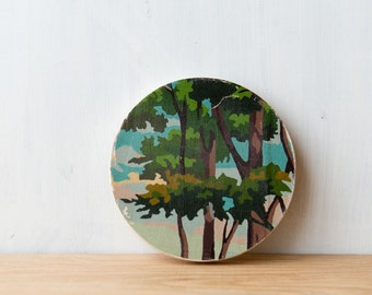 Paint by Number Circle Art Block 'Tree Top' - woodland, leaves, vintage