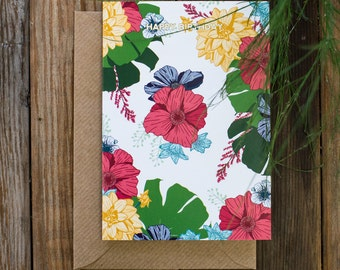 Happy Birthday Botanical Tropical Bright Floral Illustrated Birthday Greetings Card