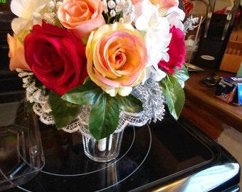 Matching Wedding Bouquet and BOUTONNIERE set. Your choice of colors and flowers.
