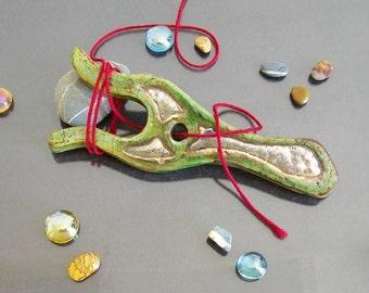 ceramic lucet, original raku pottery knitting fork, yarn tool, braiding tool, weaving tool, celtic tool, cording tool, lucet fork