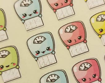 Personal Daily planner stickers Weight Loss Goal Fitness Kawaii scale stickers