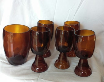 """Set of Five Vintage Repurposed Brown Beer Bottle Drinking Glasses and One """"Decanter""""."""