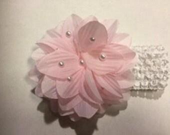 Pink Pearl Flower Baby Headband