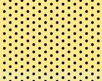 Anapola Dots-Black on Yellow fabric by Red Rooster Fabrics