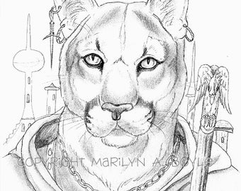 PRINT - DRAWING - FANTASY;  anthro cougar, wall art,. pencil, character portrait, original,