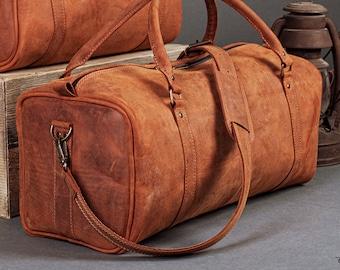 """Leather Travel Bag 22"""" / Leather Duffle Bag / Leather Sports Bag / Gym Bag / Cabin Travel Bag / Weekender Bag / Overnight Bag"""