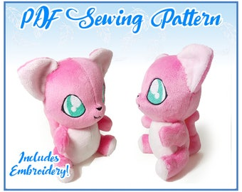 Sitting Kitty Plush PDF Sewing Pattern (EMBROIDERY INCLUDED)