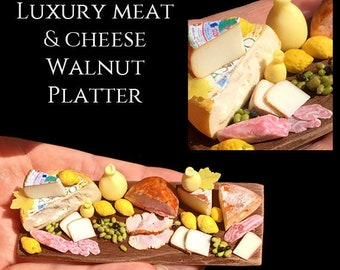 Provolone & Italian Cheese Display set on a Walnut Platter - Artisan fully Handmade Miniature in 12th scale. From After Dark miniatures.