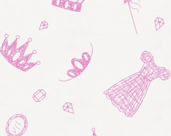 Hot Pink Princess Organic Fabric - By The Yard - Girl / Modern