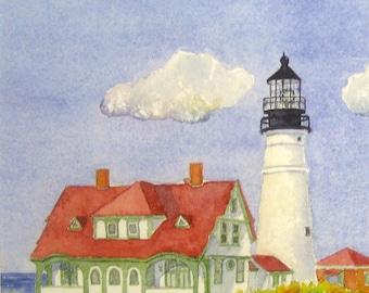 Portland Head Light, Cape Elizabeth Maine Watercolor Print