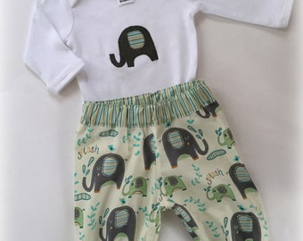 Baby Boy Elelphant outfit/set - pants and applique top  Avail in 000, 00 and 1