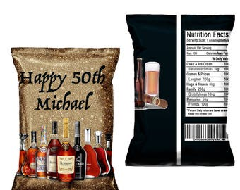Liquor Bottle Favor Bags-Custom Chip Bags-Liquor Bottle Birthday Party Bags-Liquor Bottle-Digital-Printed-Printables-Chip Bags