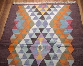 Yuner/ Vintage Kilim Rug ,Antique  Kilim Rug, Decorative Rug,59 Years Old,sky blue, white,brown,color riot,53.2X37.6 inch