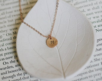 Rose Gold Initial Necklace / Hammered / Bridesmaid Gift Idea / Monogram Jewelry / Custom Initial / Personalized / Hand Stamped / Letter