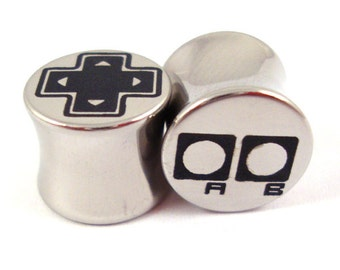 """Old-School Gamer Double Flared Plugs - Stainless Steel - 2g 0g 00g 7/16"""" (11 mm) 1/2"""" (13mm) 9/16"""" (14mm) - Metal Gauges"""