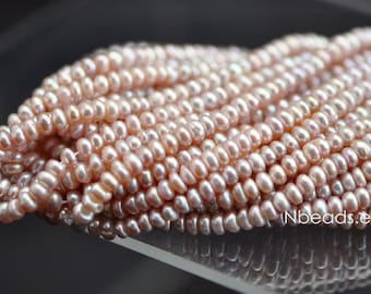 """Cultured Freshwater Button Pearls 4mm, Mauve Purple Rondelle Pearls (PL01-12)/ 15.5"""" full strand"""