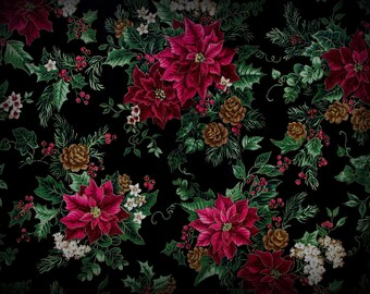 Christmas Fabric, Black Background, Poinsettia Fabric, 1 Yard, Red Poinsettia Fabric, Berries and Flowers, Cotton, Black Green Red, Cotton