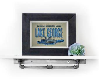 Lake George Print - Lake George Postcard - Adirondacks Print - Travel Print - Cabin Decor - Lake House Decor - Upstate New York Print