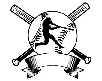 Baseball Logo #12 Player Tournament Ball Bat League Equipment School Team Game Field Sport Logo.SVG .EPS .PNG Vector Cricut Cut Cutting File