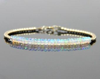 Ethiopian Opal Bracelet - Natural Opal Bracelet, Opal Beaded Bracelet, Fire Opal Bracelet, Mothers Day Birthstone Bracelet