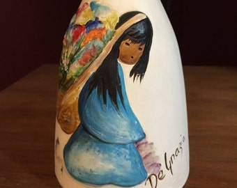 "Vintage Ted DeGrazia Hand painted Wind Chime Bell Titled ""Beautiful Burden""..Sandstone Ceramic...Native Americana"
