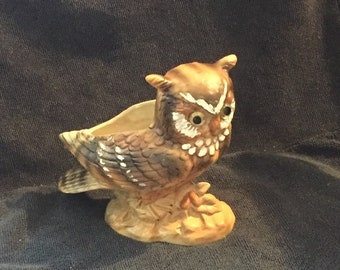Vintage Porcelain Lefton Owl Planter H4470