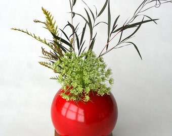 red vase, ceramic and wood vase, Ceramic Vase, Flower Vase, Bud Vase, Pottery Vase, Modern, Mother's Days Gift, Wedding Gift, small vase