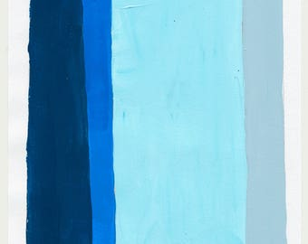Geometric Abstract Painting, 10 x 7, Blue & Grey, NY1723