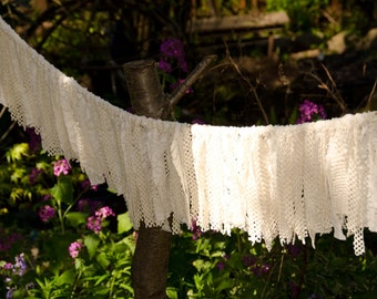 "Wedding Garland Cotton Ivory Lace Measures 5 Feet Across by 10"" long  Baby Christening, Shower, Garden Party, Home Decor"