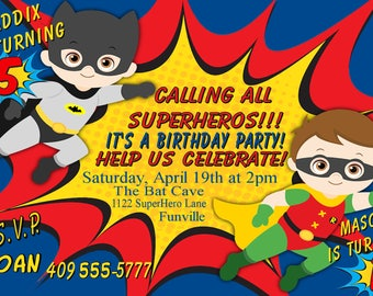 Siblings Batman and Robin Invitation, Brothers Birthday Invitation, Siblings Birthday Party Invitation, Boy Personalize for You