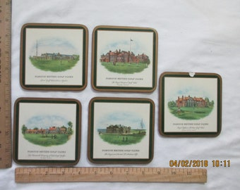 "Five vintage golfing drink coasters - made in England "" Famous British Golf Clubs"""