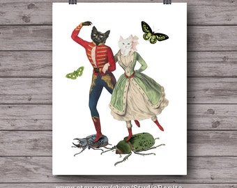 Cats Dancers . printable collage for cat lovers . instant download wall art .  unique art . home decor print . cat poster . victorian cat