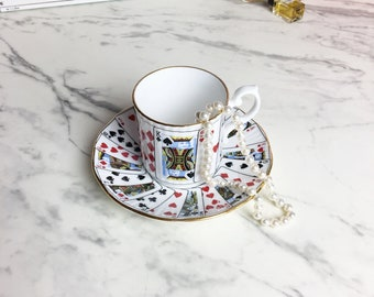 Teacup and saucer   Elizabethan Staffordshire Cut for Coffee    Demitasse Cup and Saucer   Playing Cards   Deck of cards