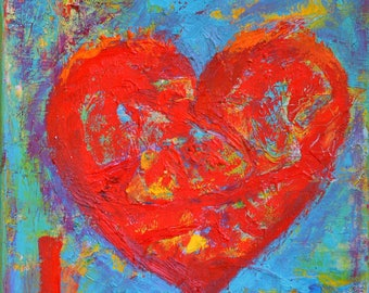 Heart Painting on Canvas Love Painting Abstract Heart Love Canvas Gift for Her Wedding Gift Love Wall Art Love Wall Decor Love Quotes Decal